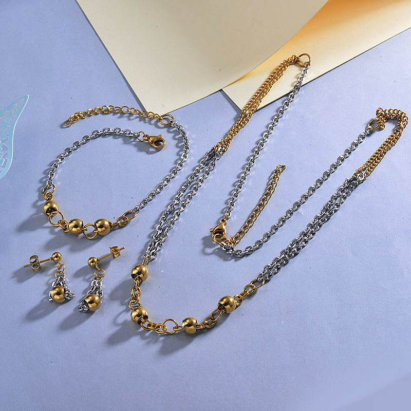 Stainless Steel Beaded Necklace Sets