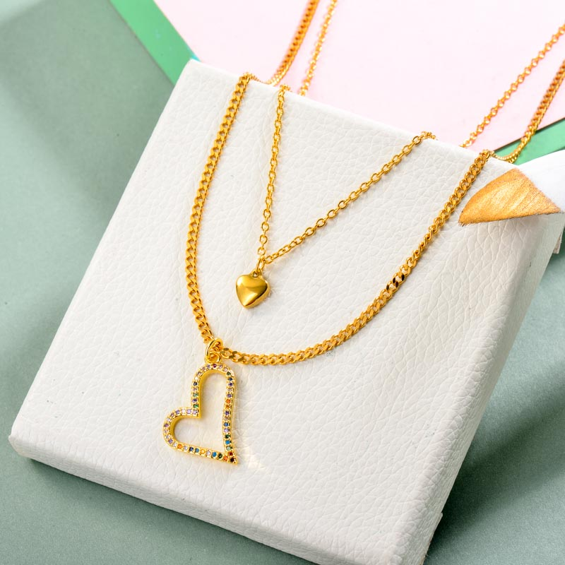 Brass Charm Multilayered Necklace
