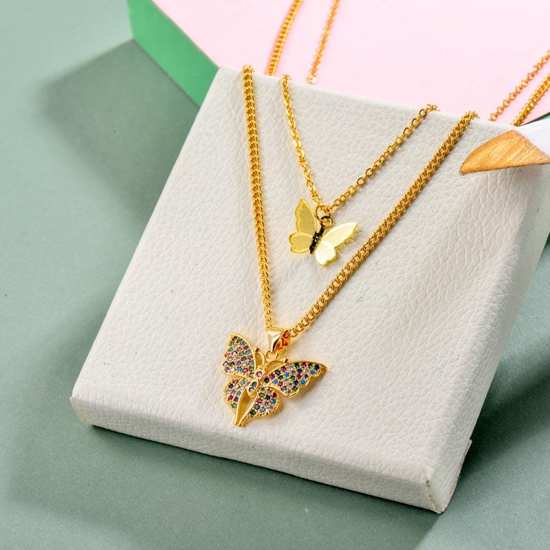 Brass Charm Butterfly Necklace