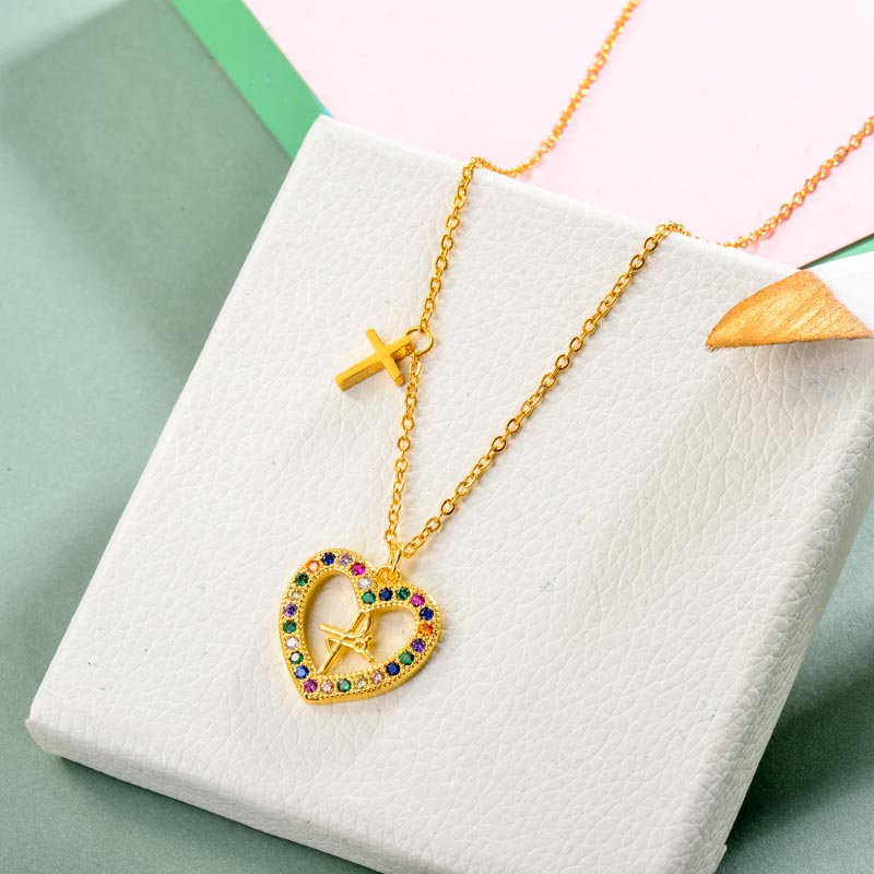Brass Charm Heart Necklace