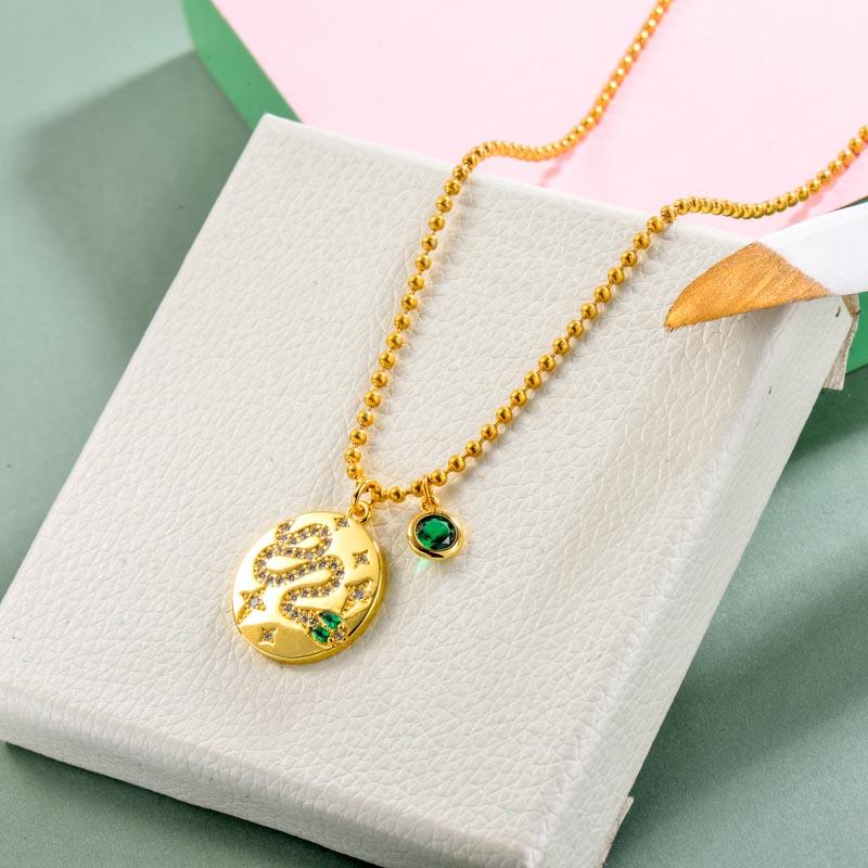 Brass Charm Snake Necklace