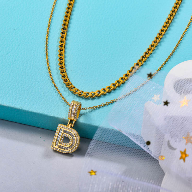 Stainless Steel Chain Initial Letter Cham Pendant Necklace