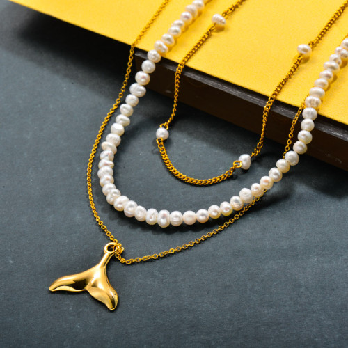 Fresh Water Pearl with Steel Mermaid Fish Tail Charm Beaded Necklace