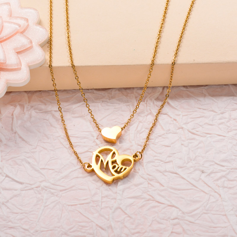 Stainless Steel Mom Layered Necklace