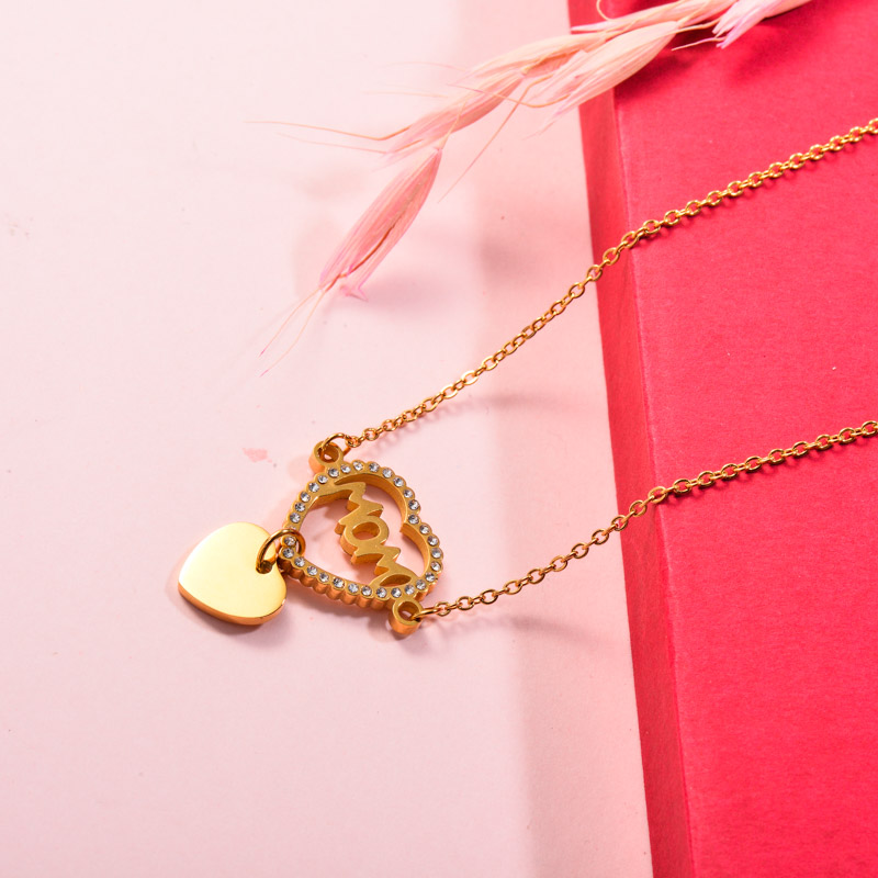 Stainless Steel Heart Crystal Mom Necklace
