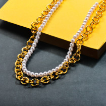 Glass Imitation Pearl Beaded Necklace Double Layered Steel Necklace