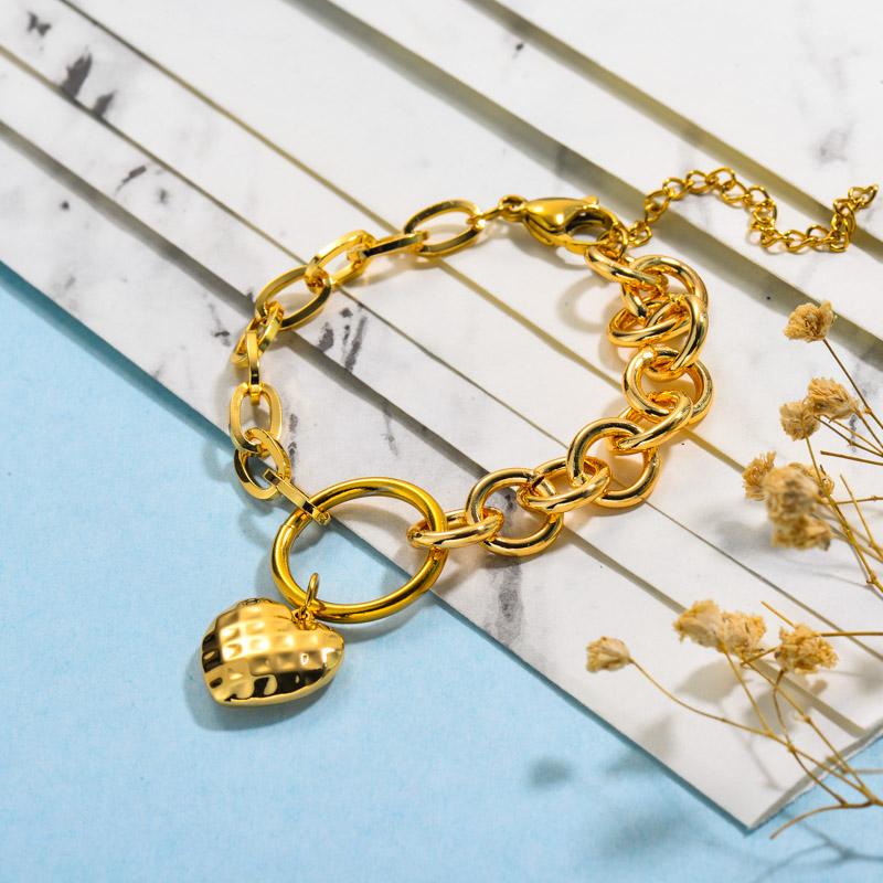 Stainless Steel Heart Linked Bracelets