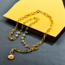 Gemstone Beaded Stainless Steel Y Larit Necklace