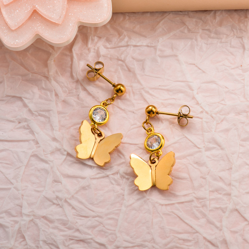 Stainless Steel CZ Butterfly Drop Earrings
