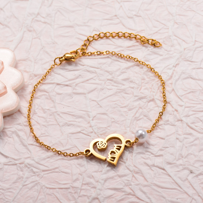 Stainless Steel Heart Moom Bracelets