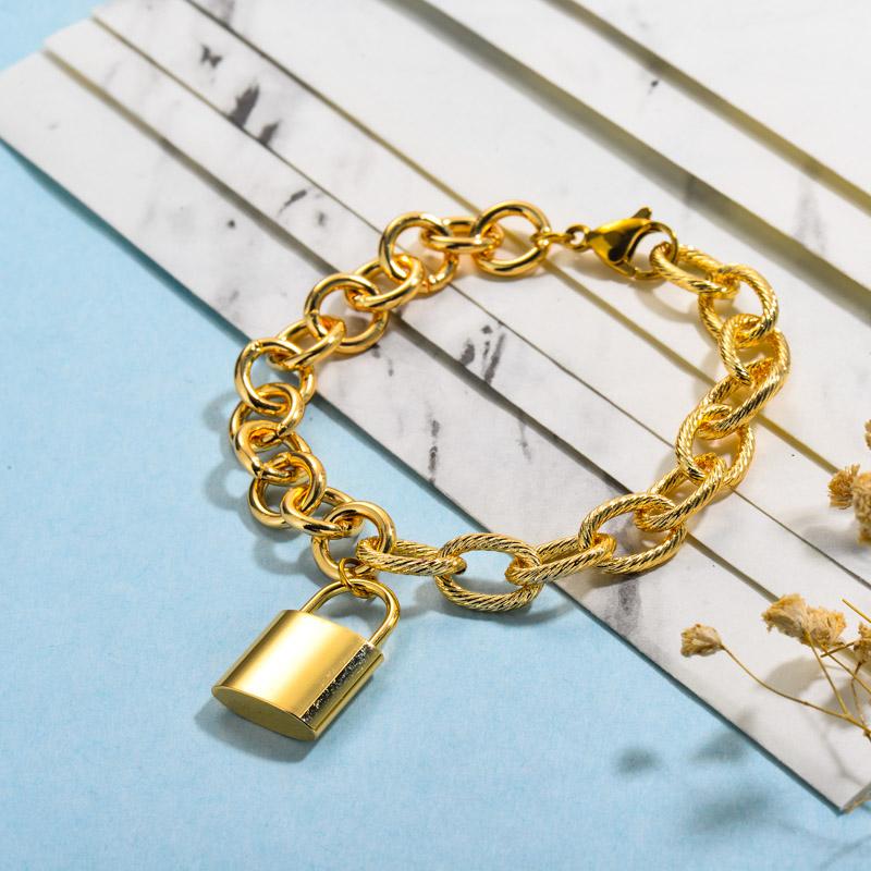 Stainless Steel Lock Linked Bracelets
