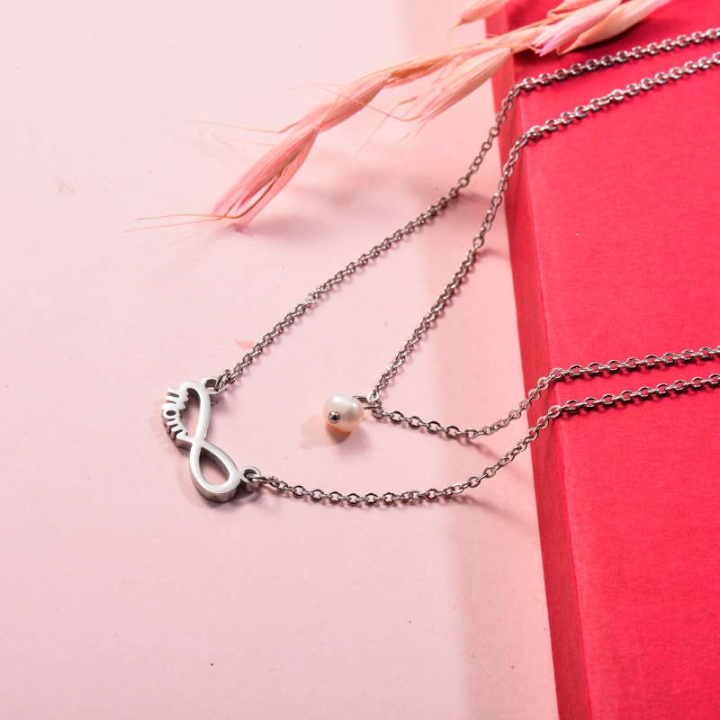Stainless Steel Infinity Mom Layered Necklace