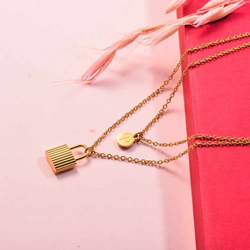 Stainless Steel Lock Layered Necklace