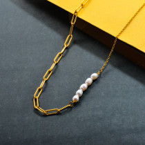 Stainless Steel Fresh Water Pearl Necklace