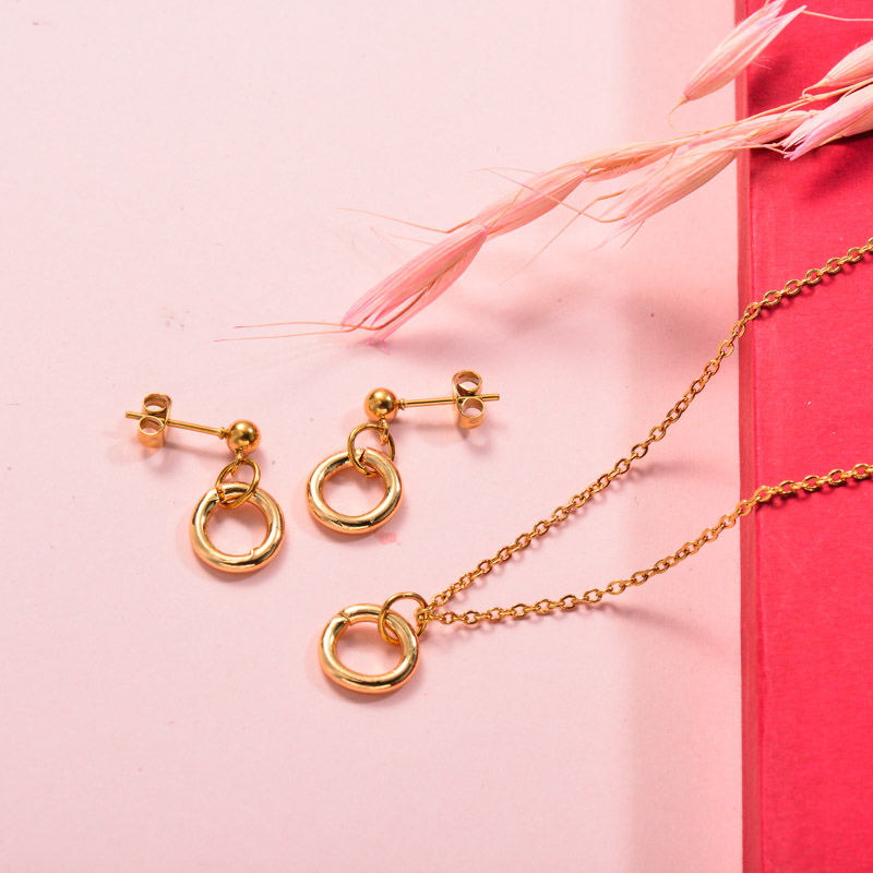 Stainless Steel Circle Necklace Jewelry Sets