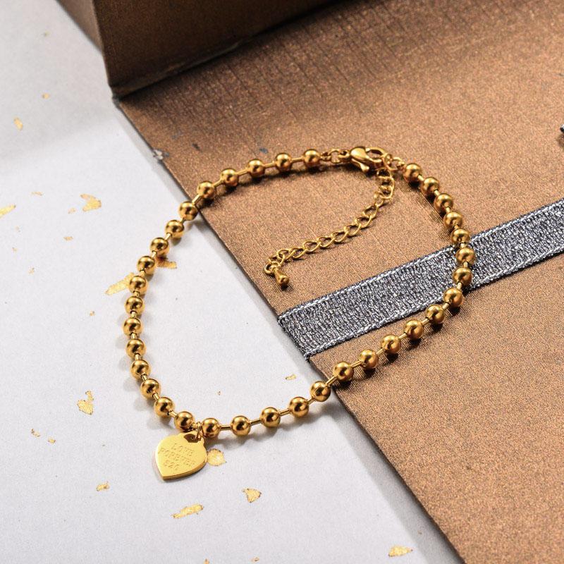 Stainless Steel Beaded Chain Heart Charm Bracelets