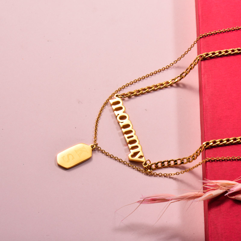 Stainless Steel Mommy Layered Necklace