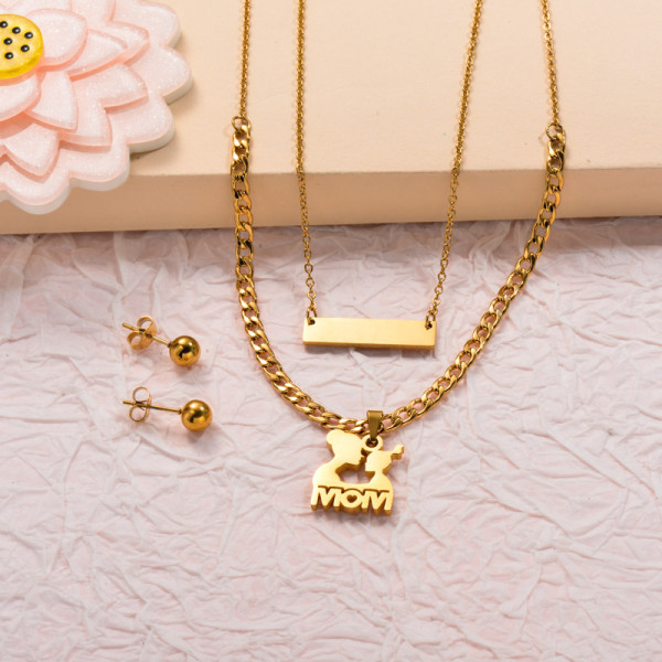 Stainless Steel Bar Mom Double Layered Jewelry Sets