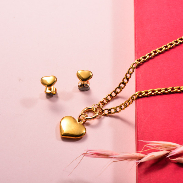 Stainless Steel Heart Necklace Jewelry Sets