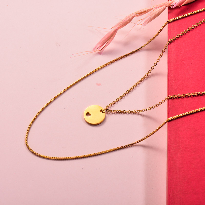 Stainless Steel Disc Layered Necklace