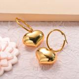 Stainless Steel Hoop Heart Drop Earrings
