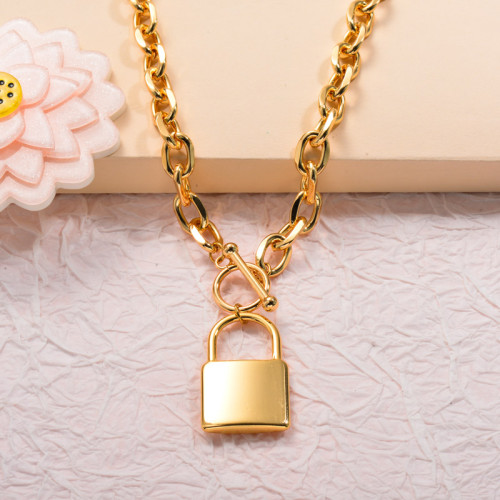 Stainless Steel Puls Size Lock Pendant Necklace
