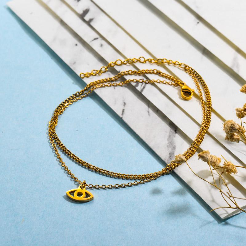 Double Layered Evil Eye Charm Bracelets