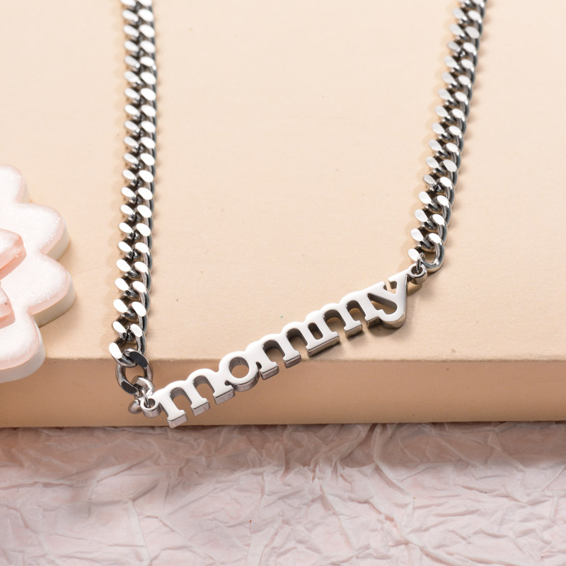 Stainless Steel Mommy Choker Necklace