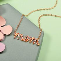 Collar de Acero Inoxidable con Cristal Multicolor -SSNEG143-12581