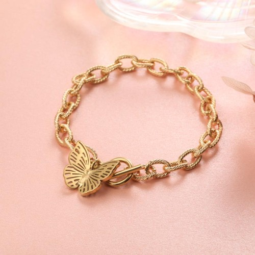 Stainless Steel 18k Gold Plated Buttefly Charm Bracelets-SSBTG142-31558