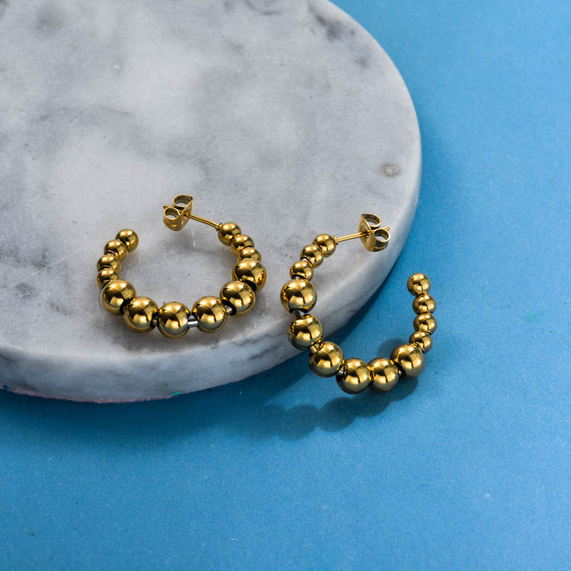 Stainless Steel Fresh Style Beaded Hoop Earrings -SSEGG143-31804