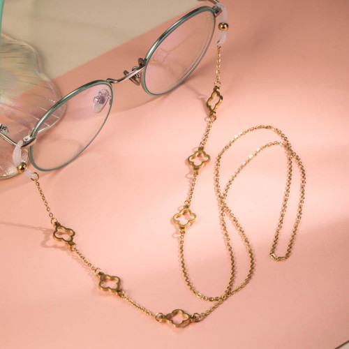 Stainless Steel 18k Gold Plated Glass Chains -SSNEG142-31630