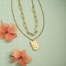 Stainless Steel 18k Gold Plated Necklace -SSNEG142-31499