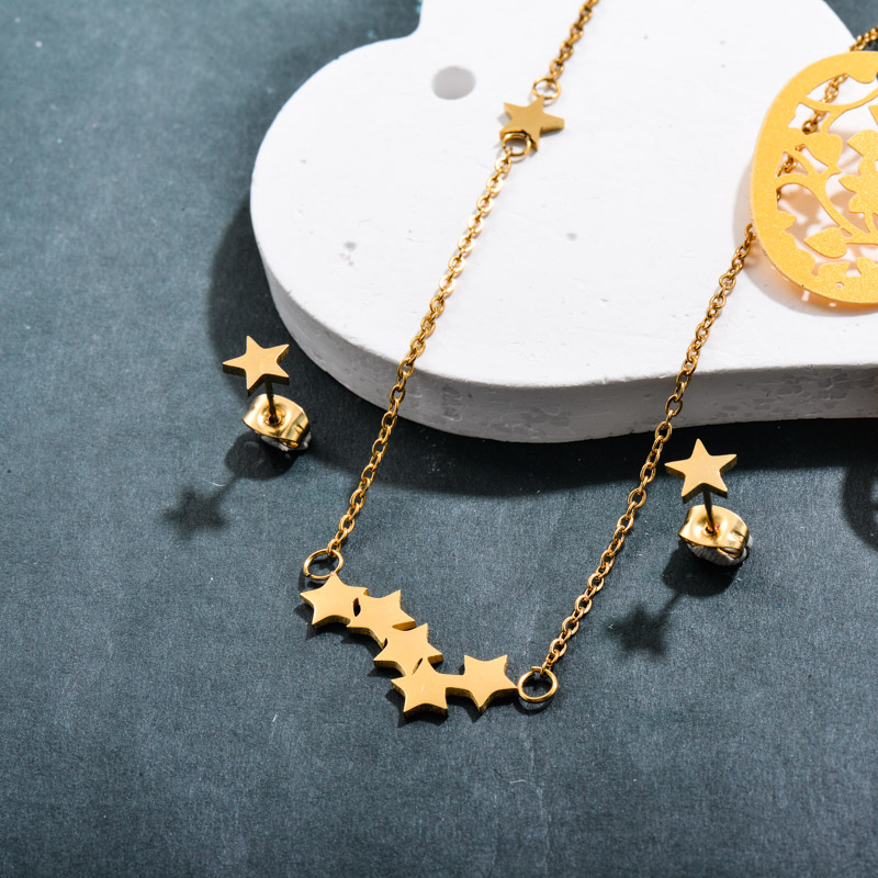 Stainless Steel 18k Gold Plated Star Jewelry Sets -SSCSG143-32370