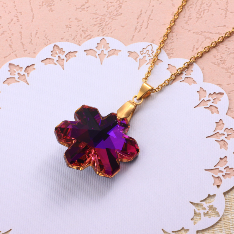 Stainless Steel Crystal Pendant Necklace -SSNEG173-32331