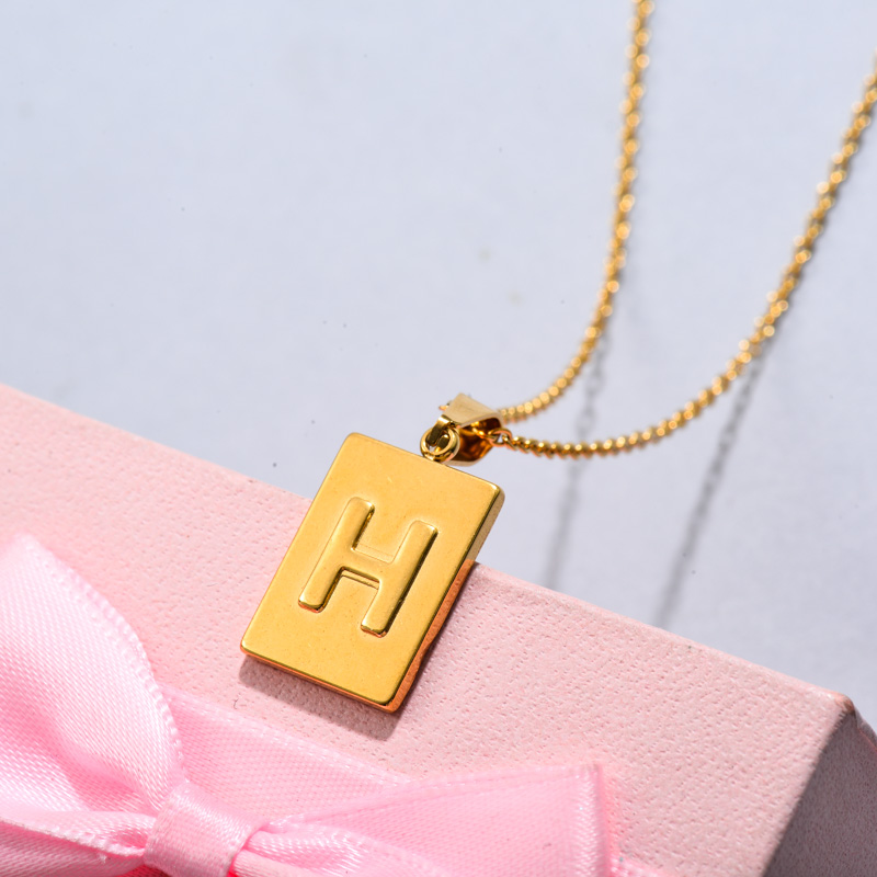 18k Gold Plated Personalized Rectangle Initial Letter Necklace SSNEG143-32443