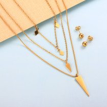 18K Gold Plated Triangle Cone Multi Layered Necklace -SSCSG142-32002
