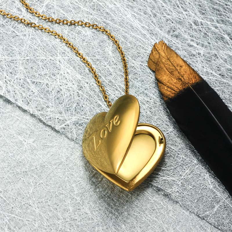 Stainless Steel 18k Gold Plated Locket Pendant Necklace -SSNEG143-32401