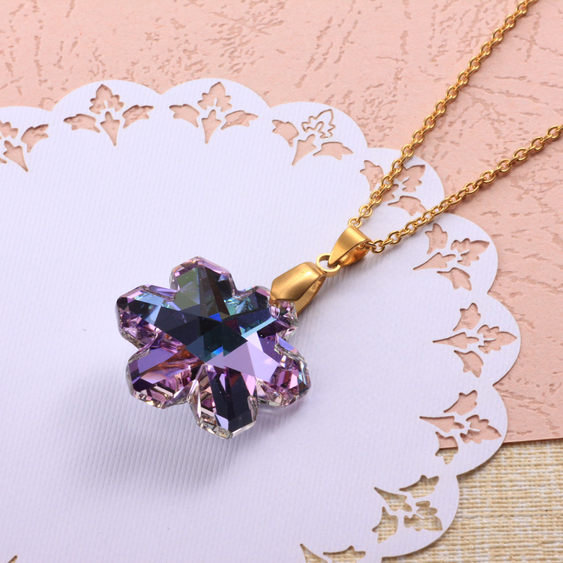 Stainless Steel Crystal Pendant Necklace -SSNEG173-32326