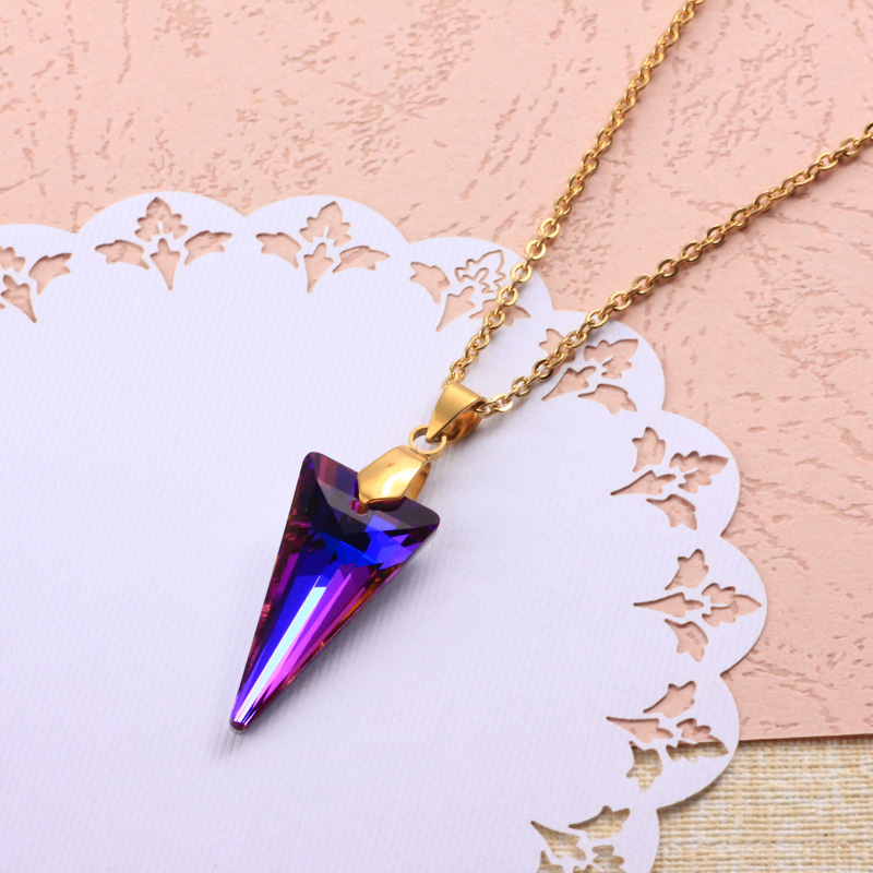 Stainless Steel Crystal Pendant Necklace -SSNEG173-32318
