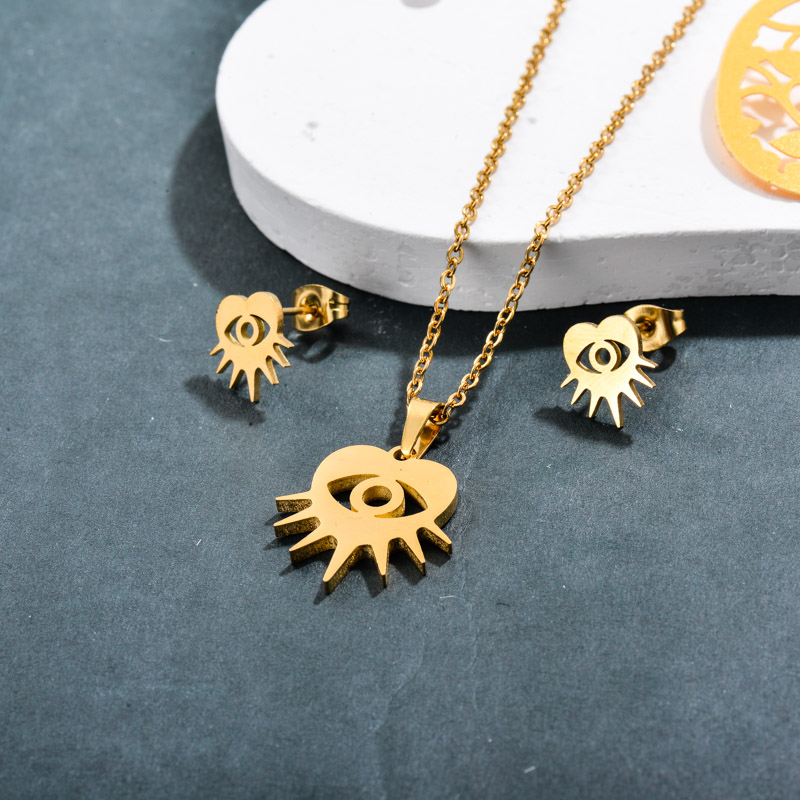 Stainless Steel 18k Gold Plated Evil Eye Heart Jewelry Sets -SSCSG143-32371