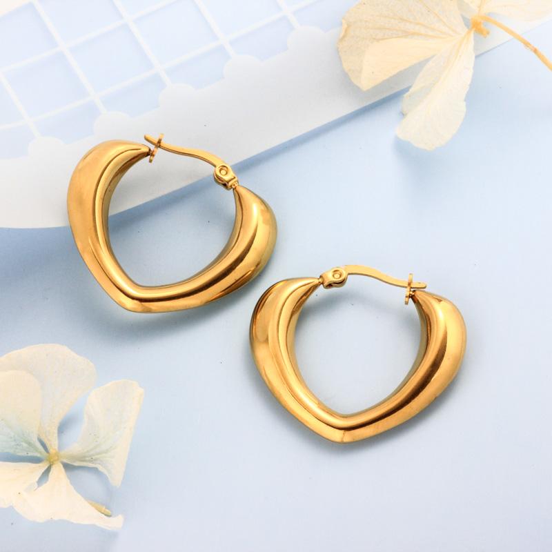 Stainless Steel 18K Gold Plated Minimalist Style Hoop Earrings -SSEGG143-32390