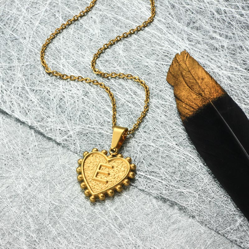 18k Gold Plated Personalized Heart Initial Letter Necklace SSNEG143-32414