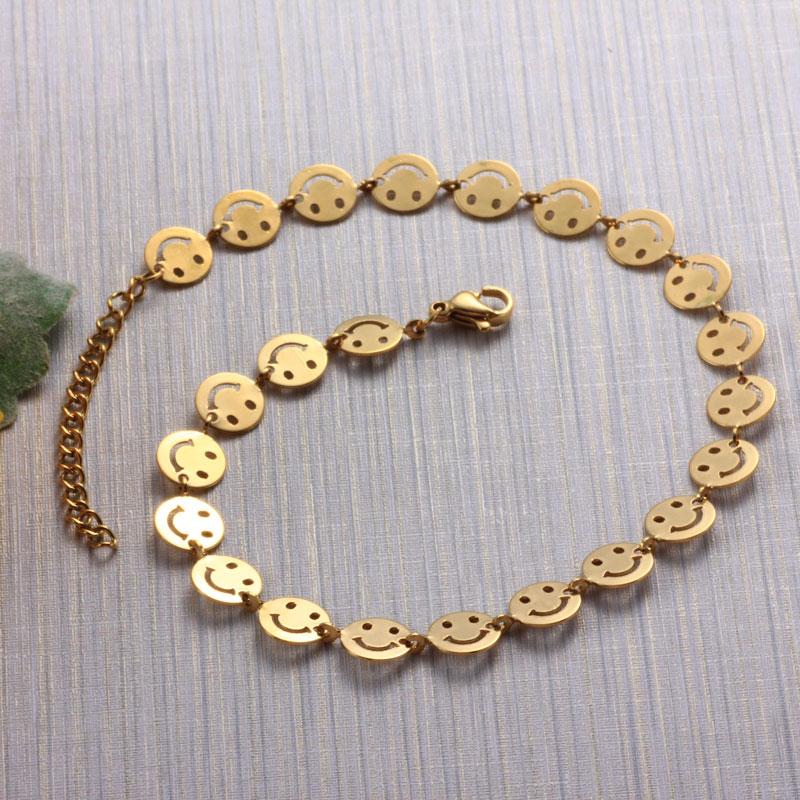 18K Gold Plated Smile Chain Anklets -SSTDG142-32080