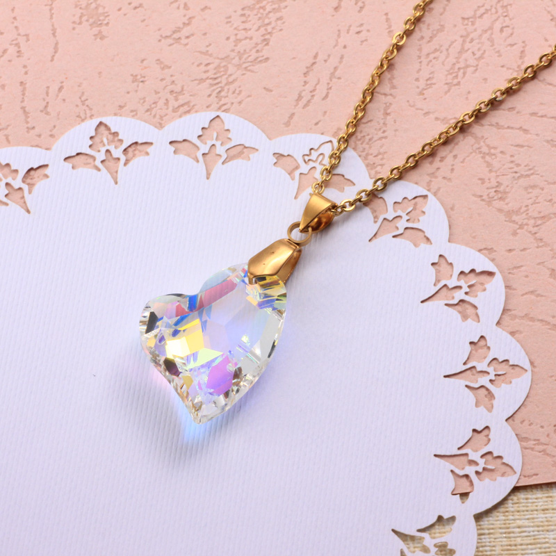 Stainless Steel Crystal Pendant Necklace -SSNEG173-32328