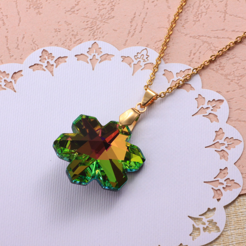 Stainless Steel Crystal Pendant Necklace -SSNEG173-32334