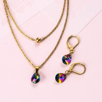 18k Gold Plated Crystal Layered Necklace Set -SSCSG142-31892