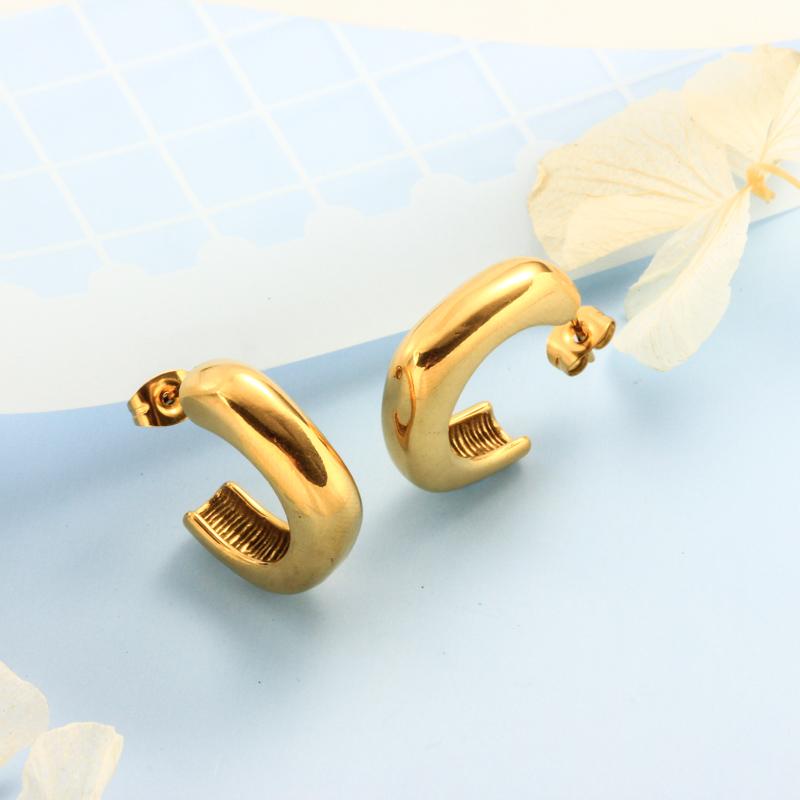 Stainless Steel 18K Gold Plated Minimalist Style Hoop Earrings -SSEGG143-32398