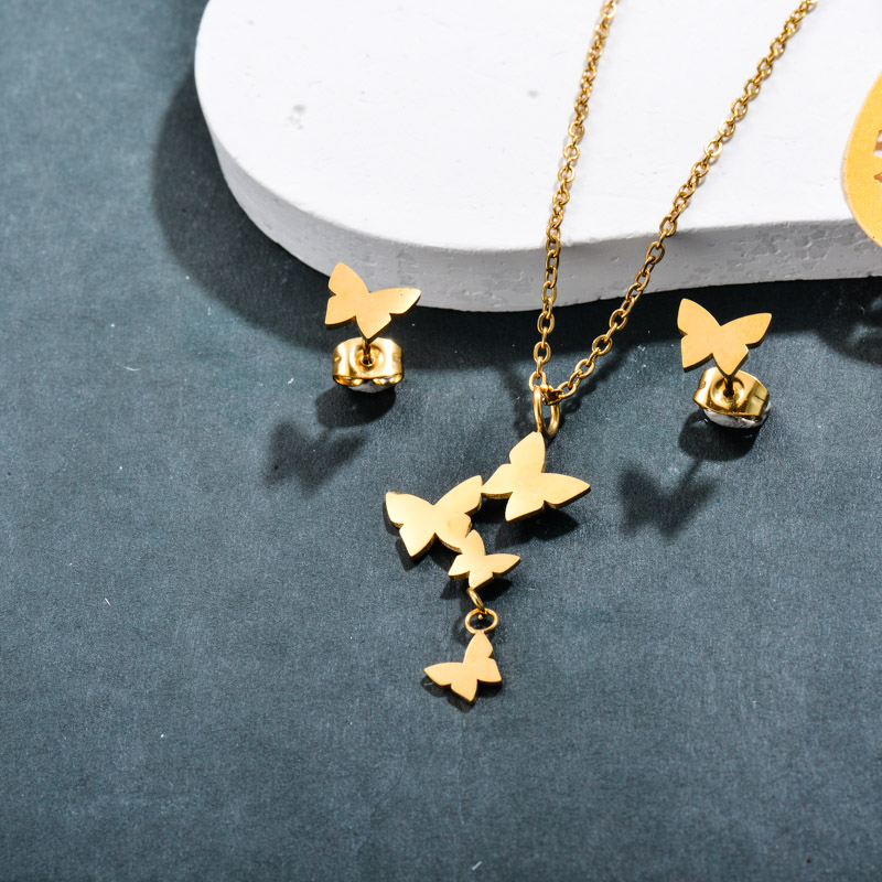 Stainless Steel 18k Gold Plated Butterfly Jewelry Sets -SSCSG143-32378