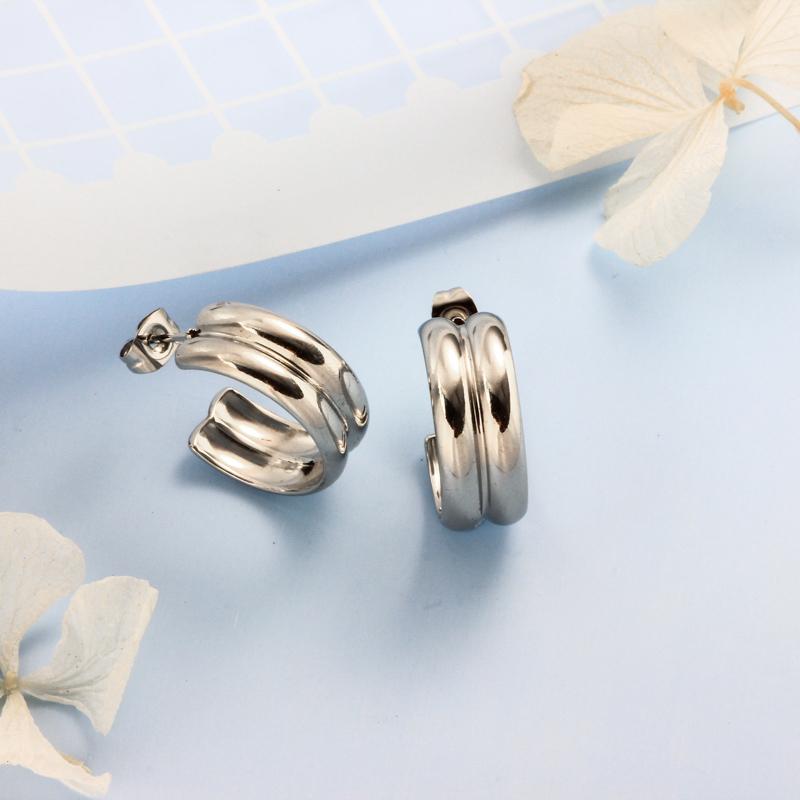Stainless Steel Steel Color Minimalist Style Hoop Earrings -SSEGG143-32396